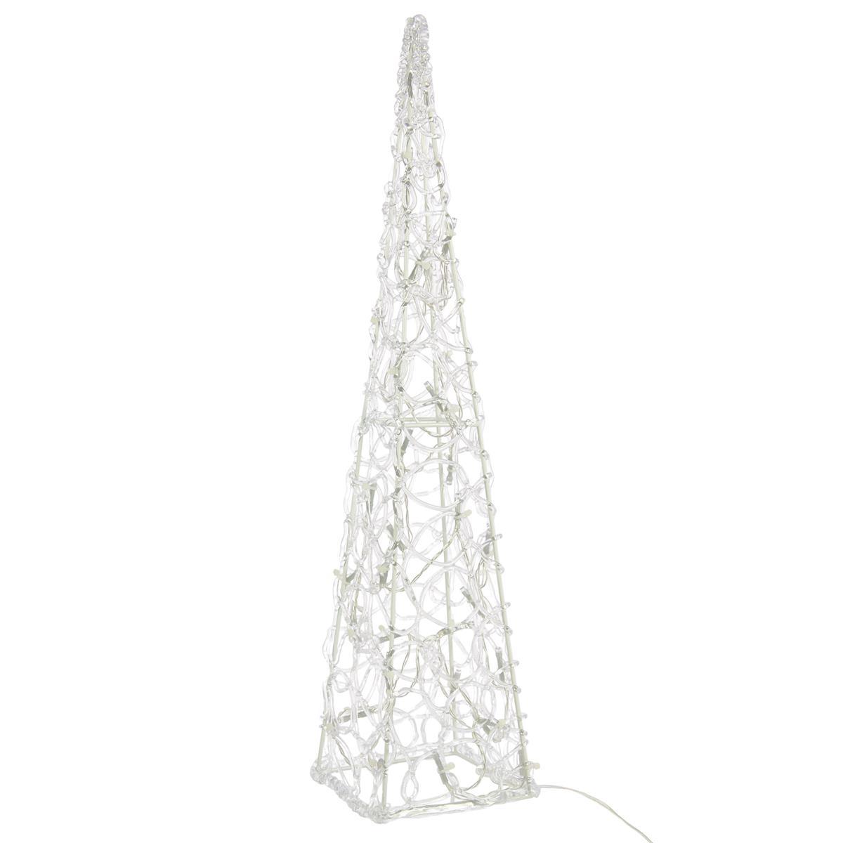 Lichterkegel Acryl beleuchtete Pyramide Lichtpyramide 30 LED weiß 60 cm Trafo Timer