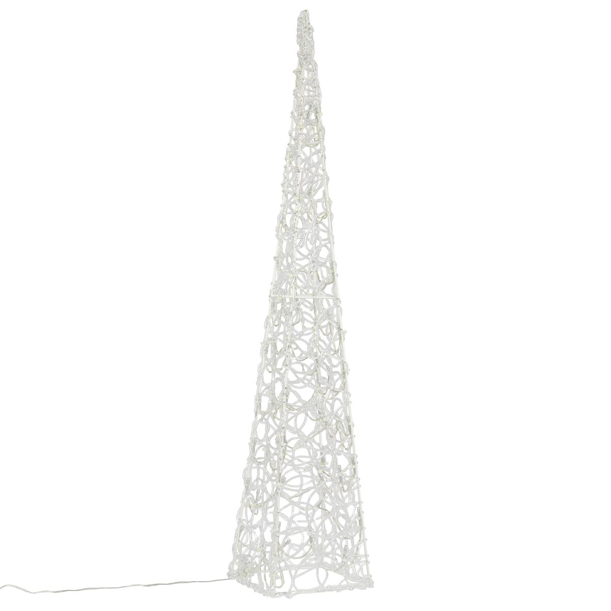 Lichterkegel 60 LED beleuchtete Pyramide Lichtpyramide weiß Acryl Trafo 90 cm Ti