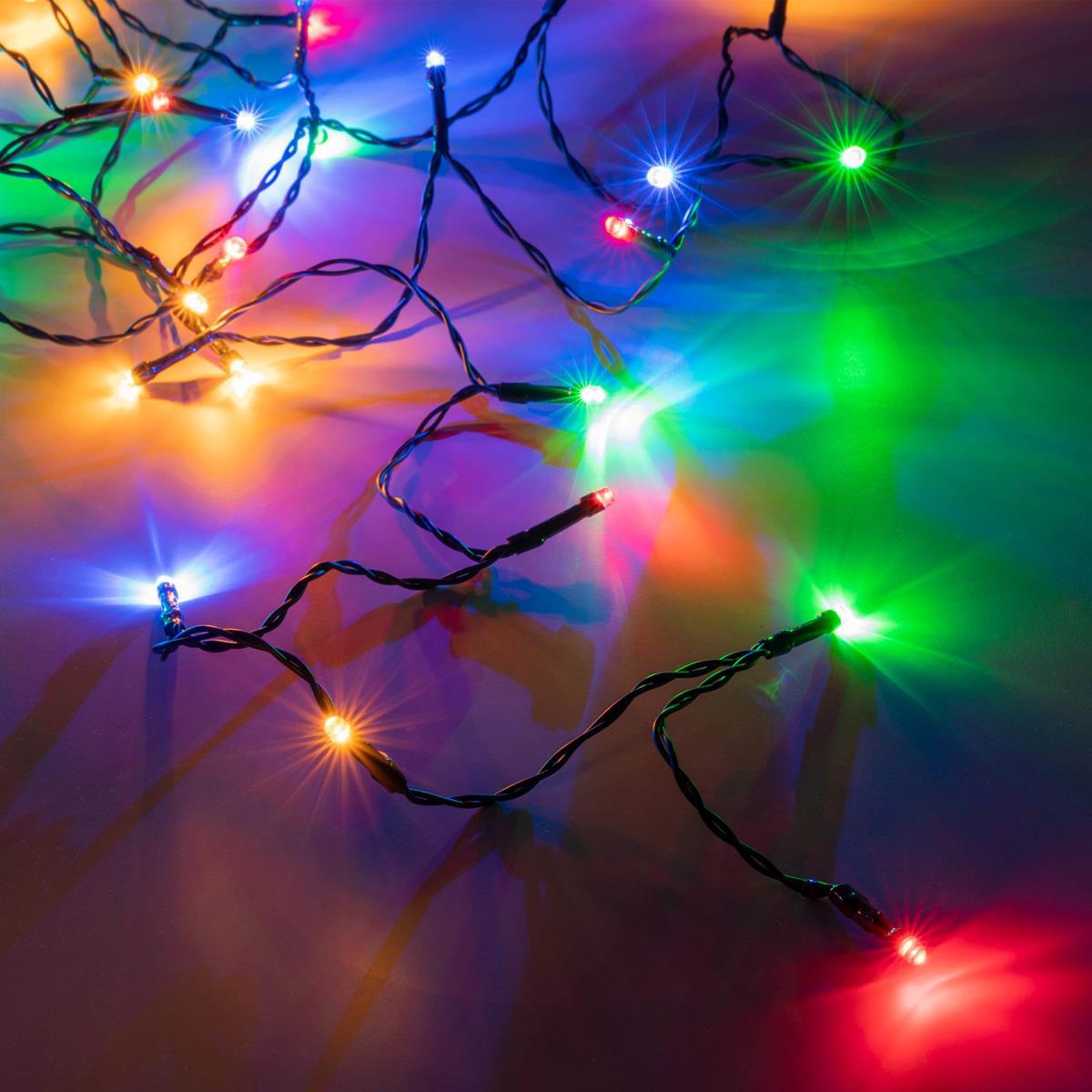 Weihnachtsbeleuchtung Bunt.100er Led Lichterkette Bunt Grünes Kabel Innen Außen