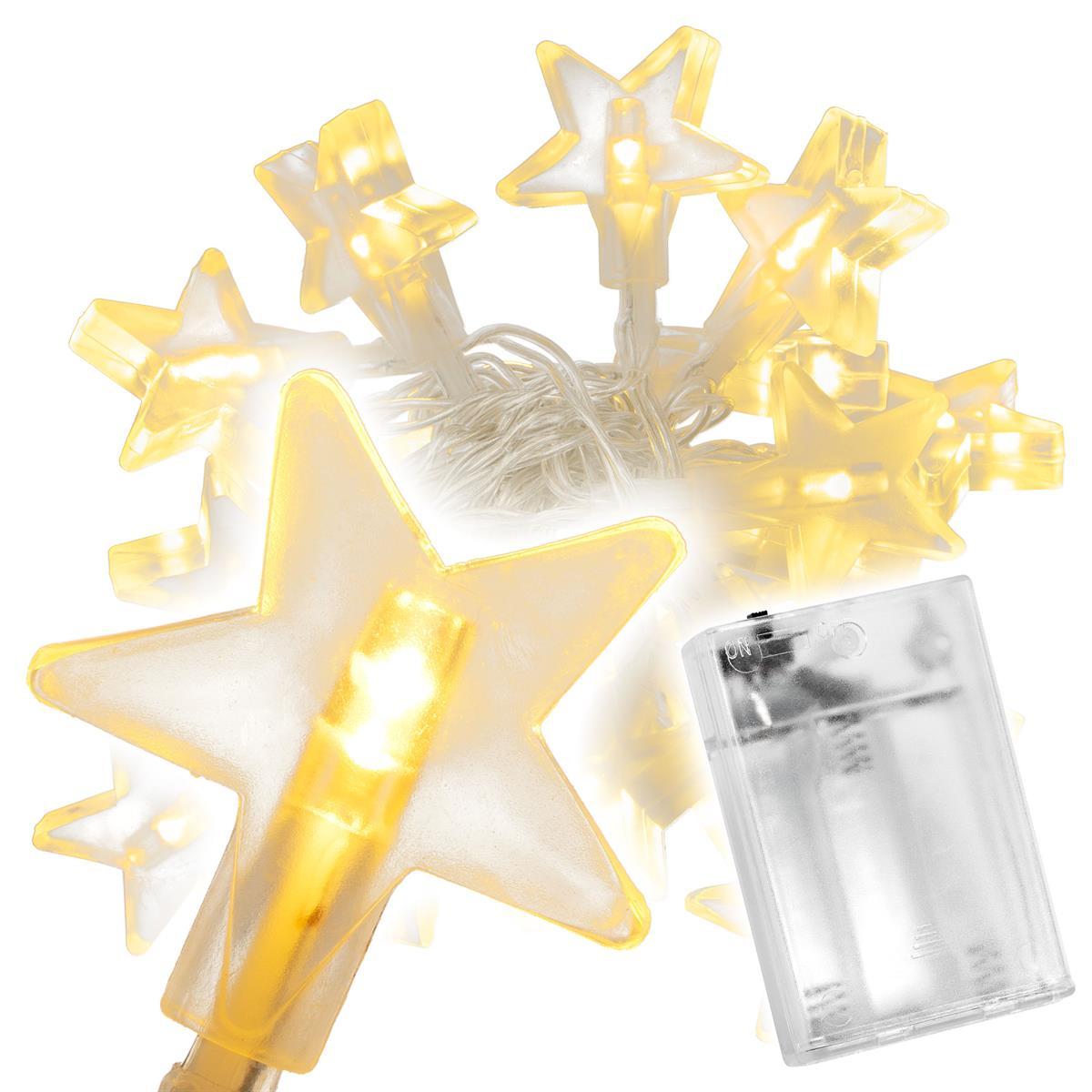 20 LED Lichterkette warmweiß Stern Sternenlichterkette Weihnachten Batterie Time