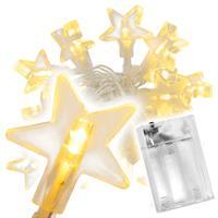 20 LED Lichterkette warmweiß Stern Sternenlichterkette Weihnachten Batterie Timer