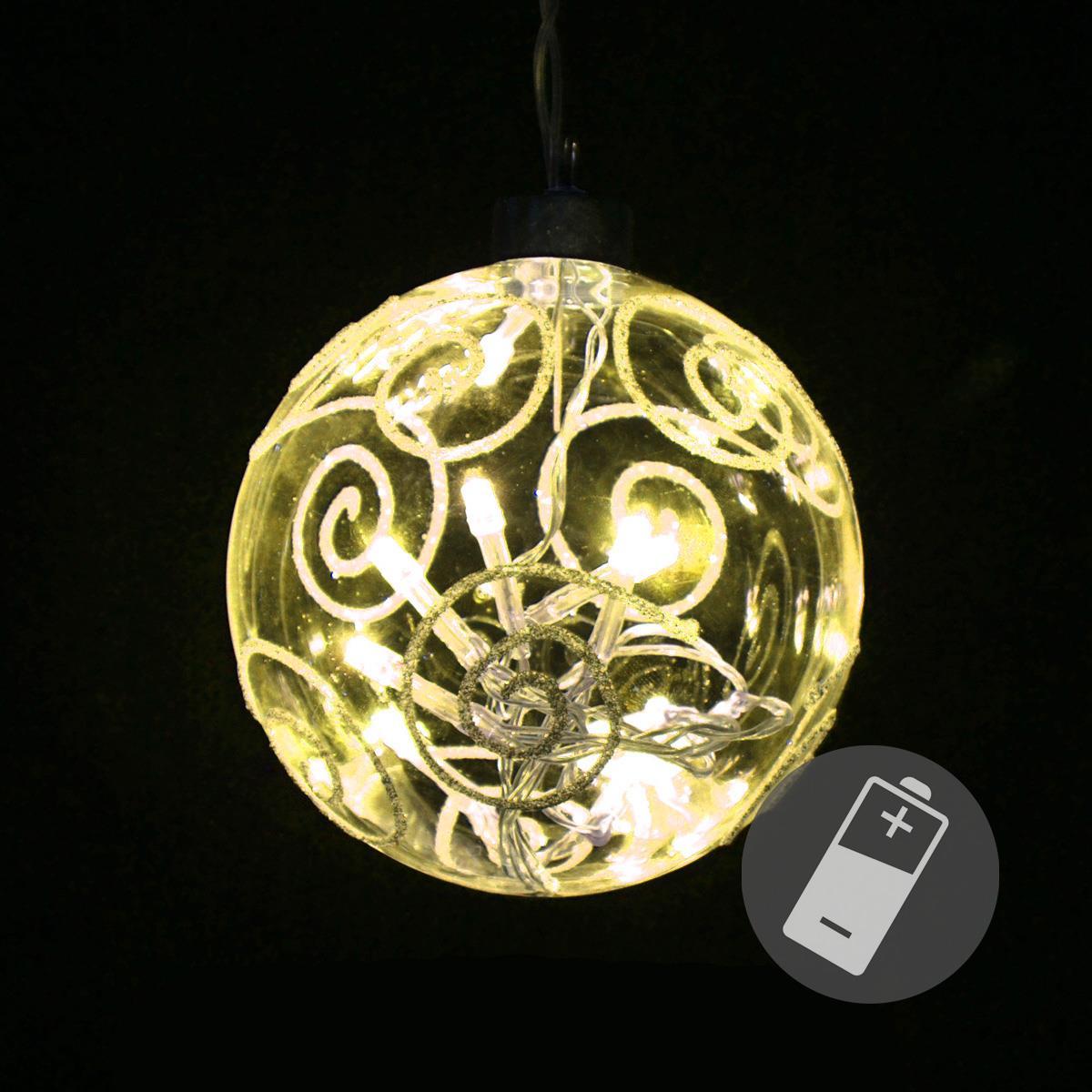 Beleuchtete Bilder Weihnachten.10er Led Beleuchtete Glaskugel Warmweiß Lichterkette Weihnachten