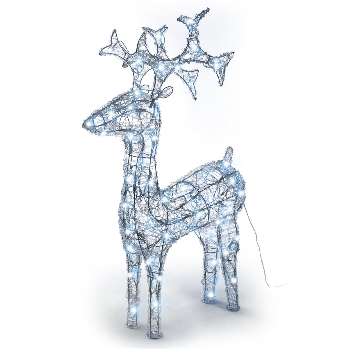 Rentier Acryl 120 LED Weihnachtsbeleuchtung Weihnachten Deko Figur 100 cm weiß