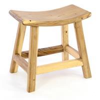 DIVERO Hocker aus Suar Holz Holzhocker Sitzhocker massiv unbehandelt