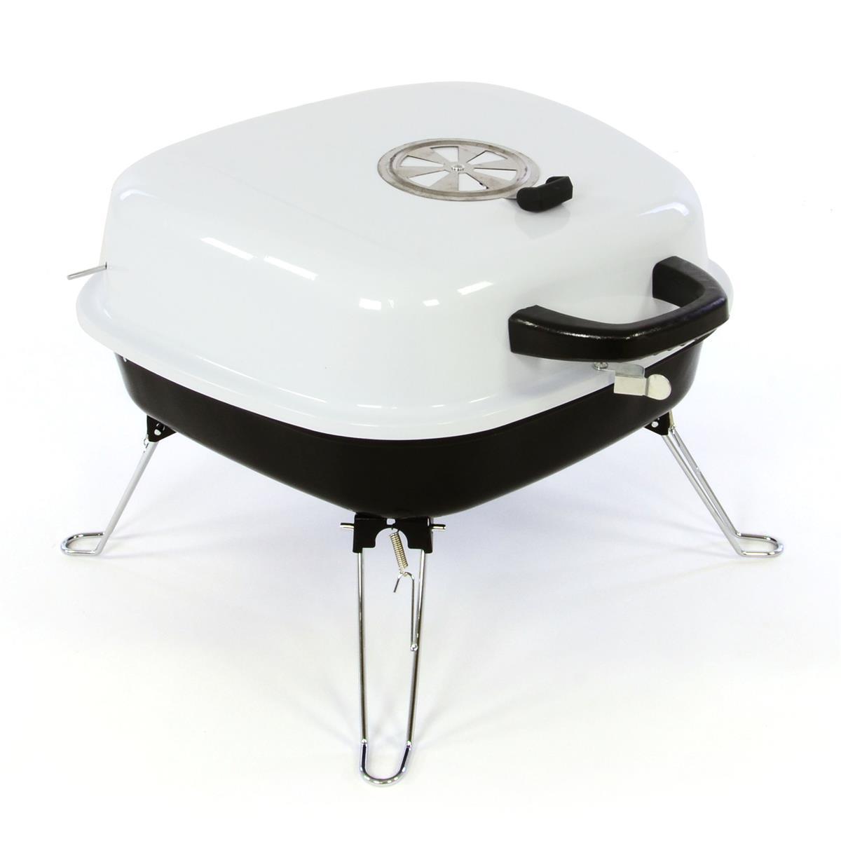 Koffergrill Holzkohlegrill BBQ Partygrill Minigrill weiß Barbecue