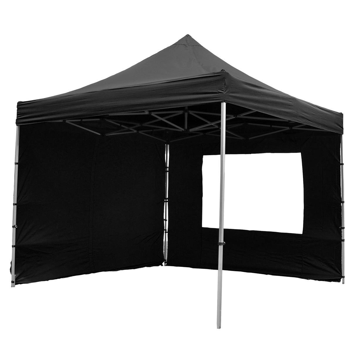 PROFI Faltpavillon Partyzelt mit 4 Seitenteilen 3x3 m schwarz wasserdichtes Dach