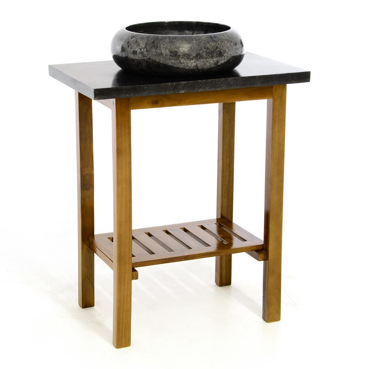 DIVERO Waschtisch Waschschale Badmöbel Marmorplatte Teak Holz grau schwarz
