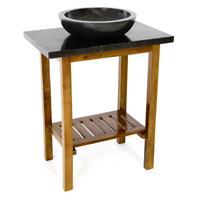 DIVERO Waschtisch Waschschale mit Platte Badmöbel Marmor Teak Holz schwarz