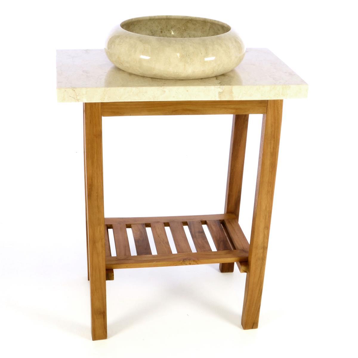DIVERO Waschtisch Waschschale mit Platte Badmöbel Marmor Teak Holz creme