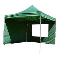 PROFI Falt Pavillon mit 4 Seitenteilen 3x3m grün wasserdichtes Dach Partyzelt