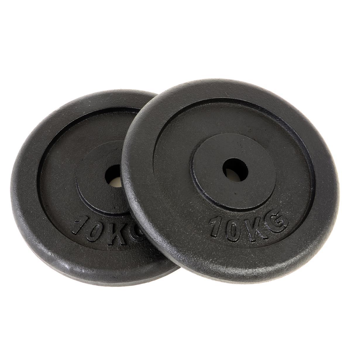 Hantelscheibe 2er Set Gewichtsplatte je 10 Kg schwarz 20 kg