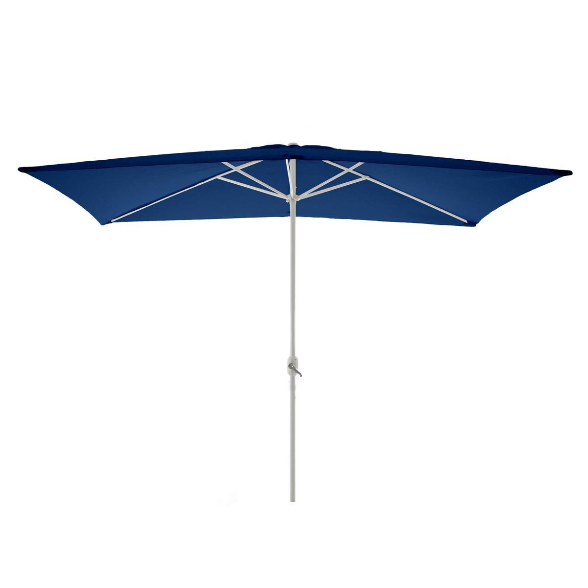Sonnenschirm eckig 2x3m blau mit Kurbel Marktschirm Rechteckschirm Sonnenschutz