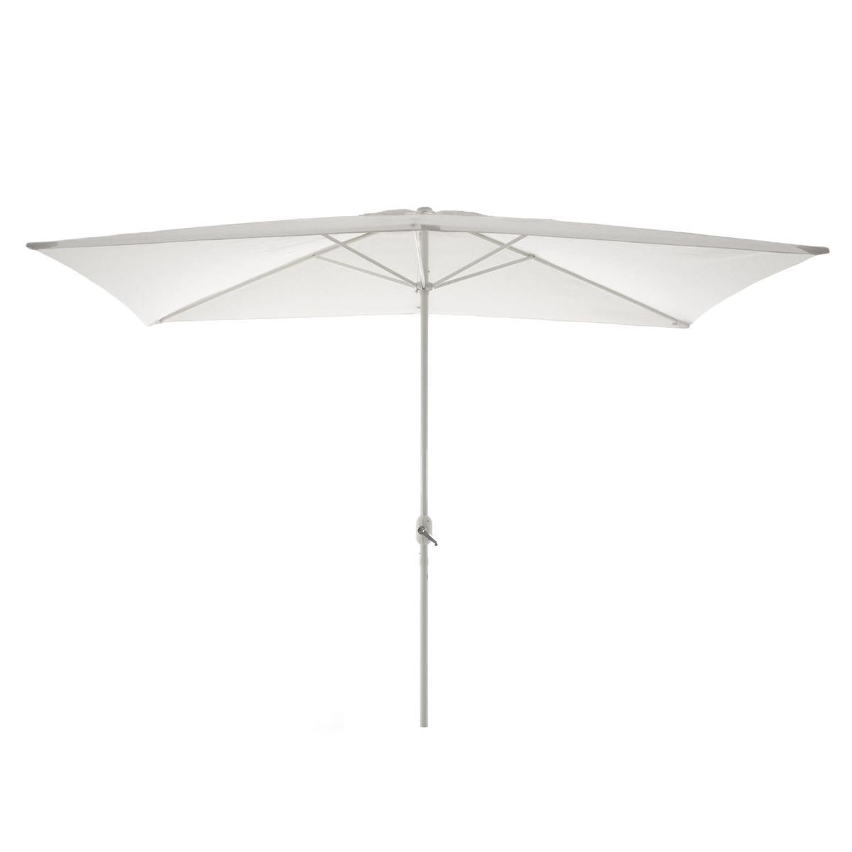 Sonnenschirm eckig 2x3m weiß mit Kurbel Marktschirm Rechteckschirm Sonnenschutz