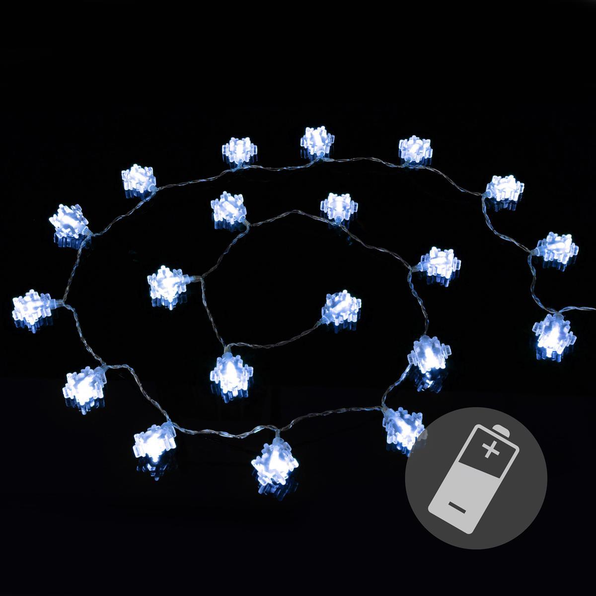 20er LED Lichterkette weiß Flocke Schneeflocke Weihnachten Deko Batterie