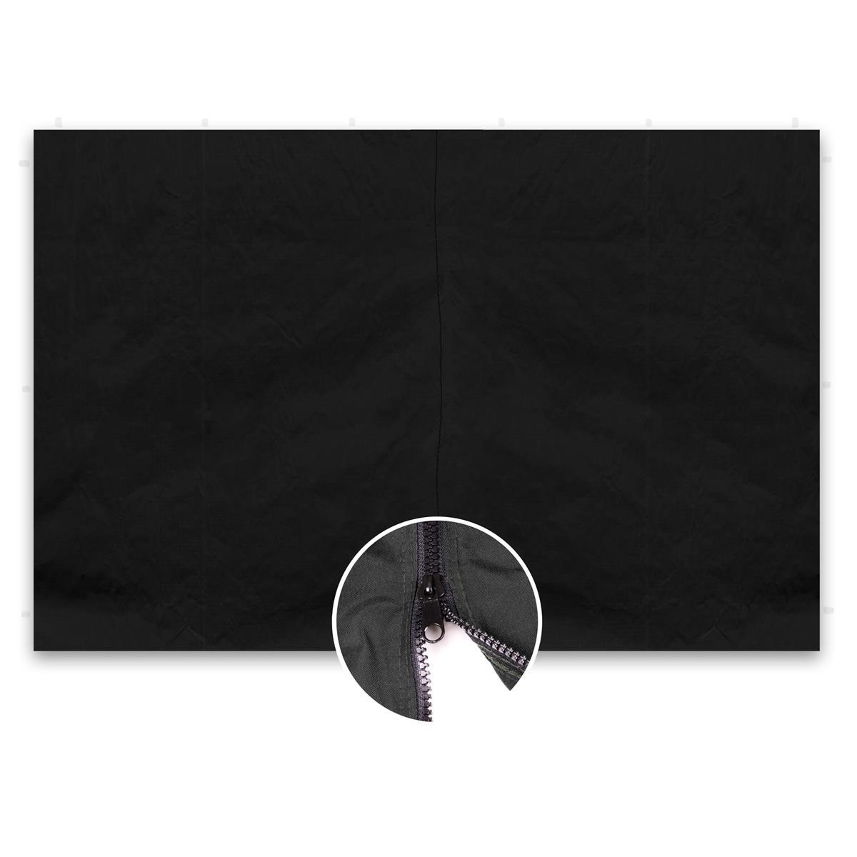2 Seitenteile ohne Fenster für PROFI Falt Pavillon 3x3 m schwarz Reißverschluss