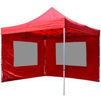 PROFI Faltpavillon Partyzelt 3x3 m rot mit 2 Seitenteilen wasserdichtes Dach