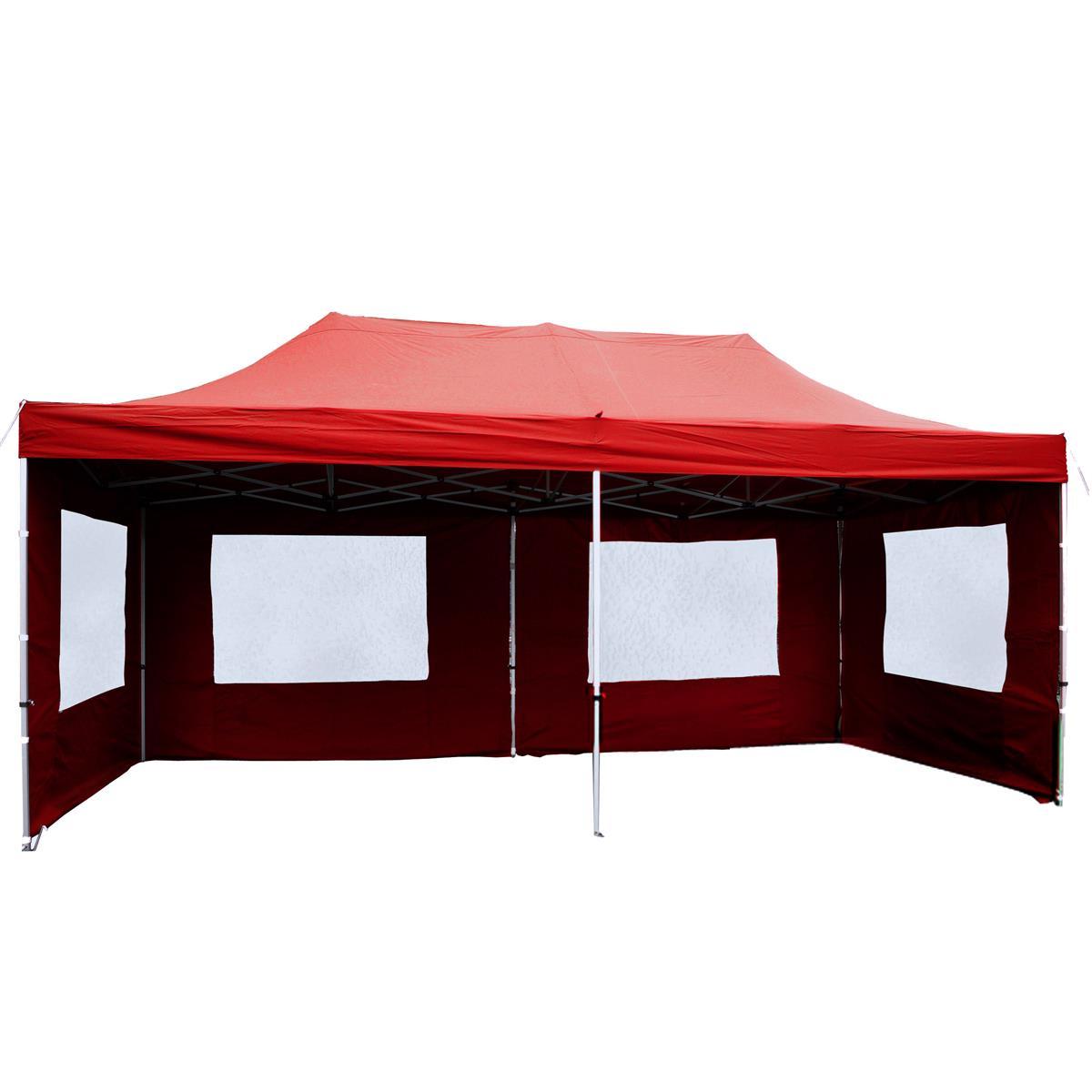 PROFI Faltpavillon Partyzelt 3x6 m rot mit Seitenteilen wasserdichtes Dach