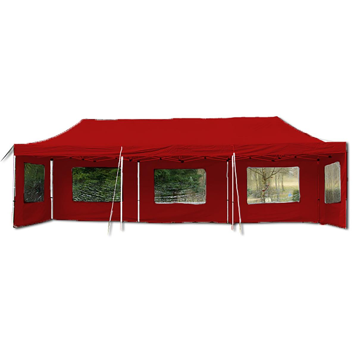PROFI Faltpavillon Partyzelt 3x9 m rot mit Seitenteilen wasserdichtes Dach