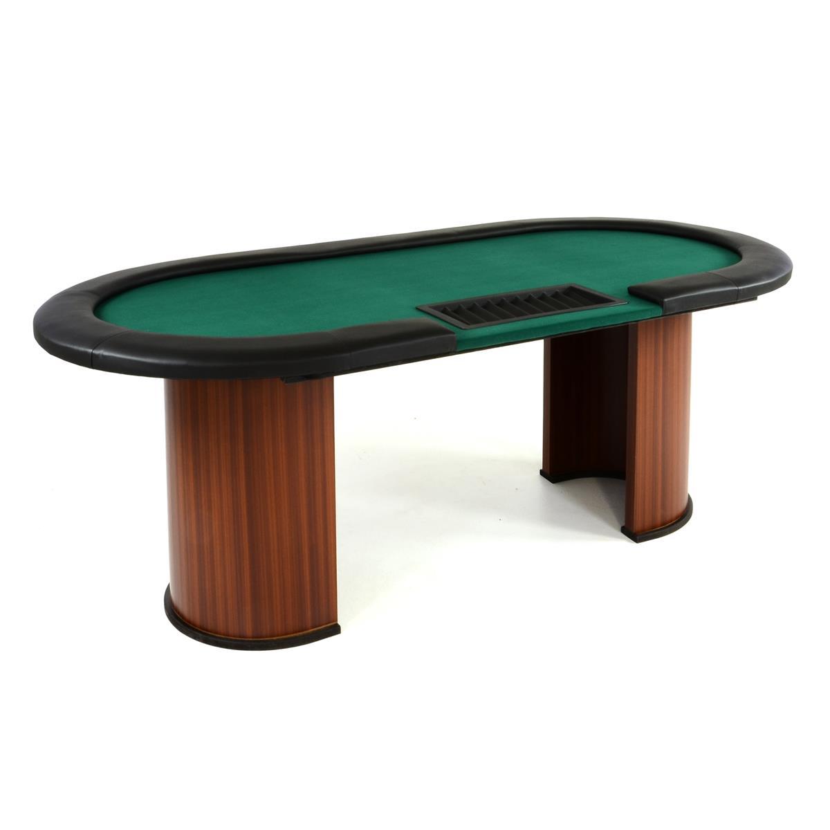 Pokertisch massiver CasinotischHolz Filzbezug 213 x 105 x 75 cm für 10 Spieler