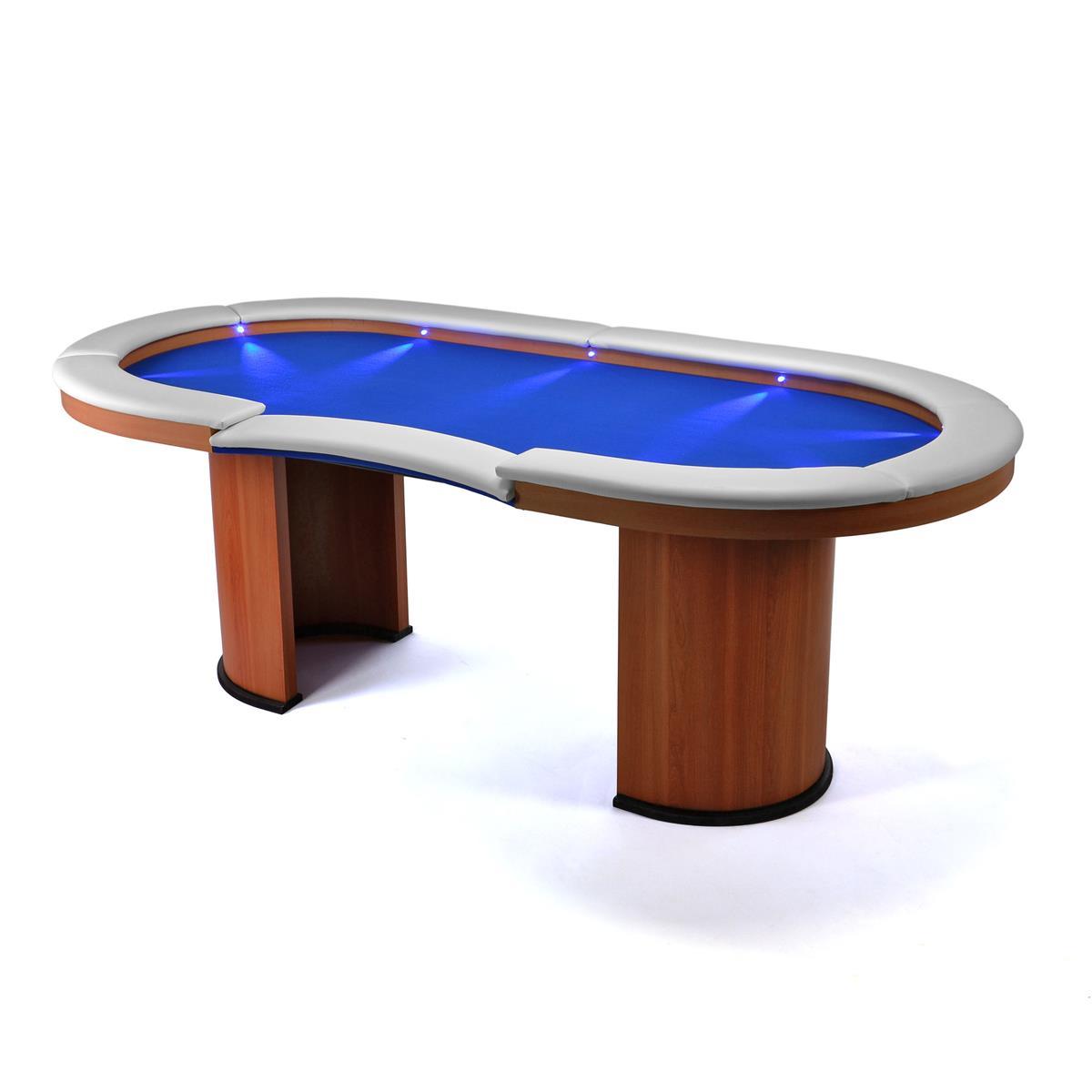 Beleuchteter Pokertisch Casinotisch Holz 10 LEDs blauer Filzbezug weiße Armlehne