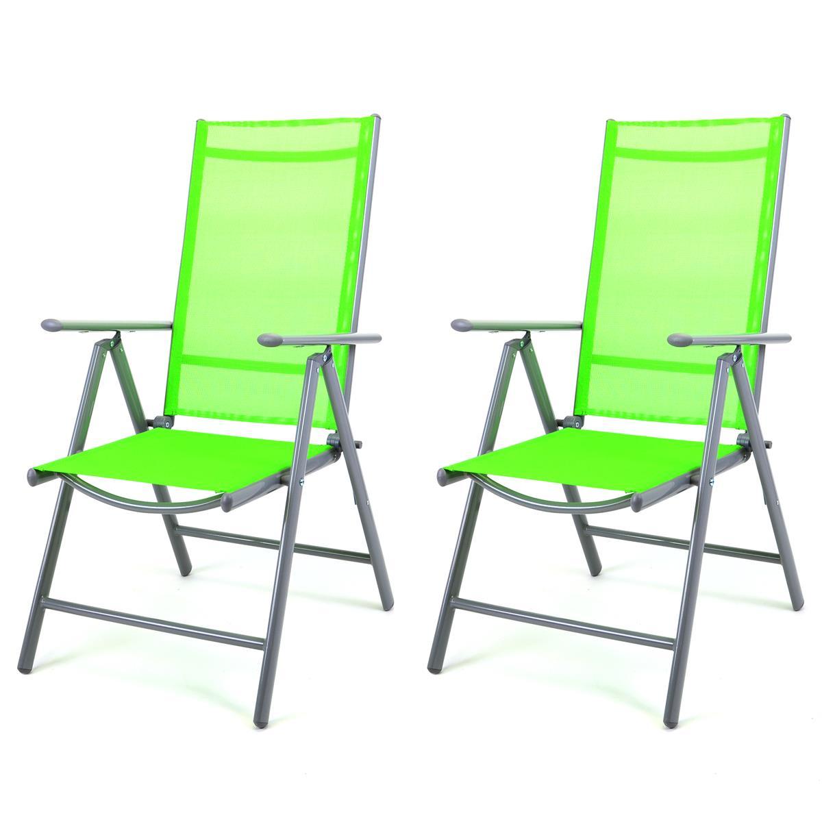 2er Set Klappstuhl grün Klappsessel Gartenstuhl Campingstuhl Liegestuhl Alu