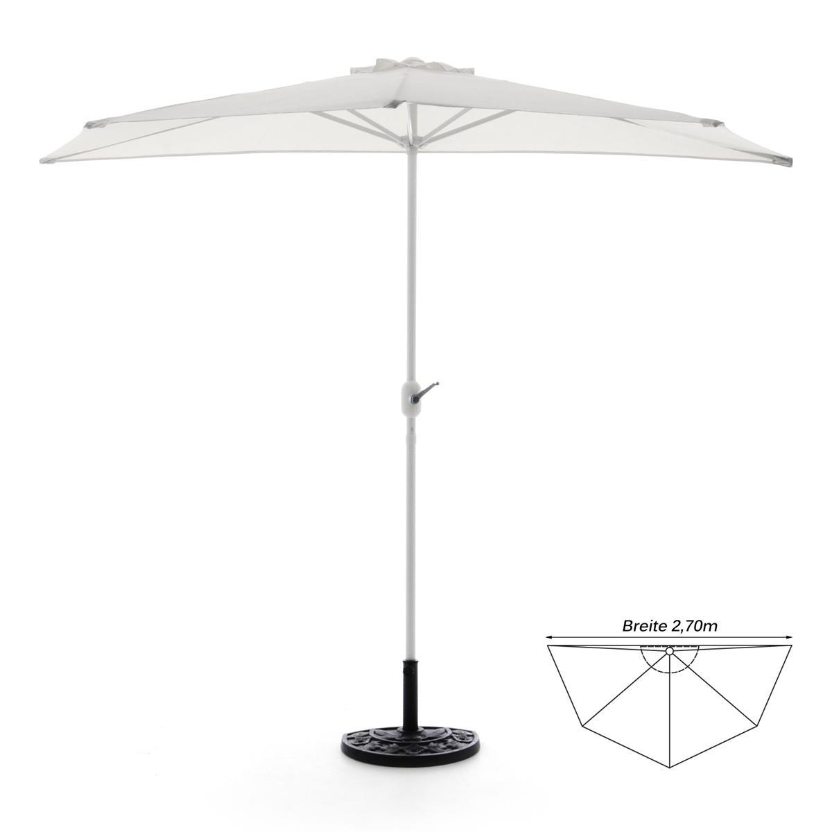 Komplett-Set Balkon Sonnenschirm weiß halbrund Schirmständer + Schirmschutzhülle