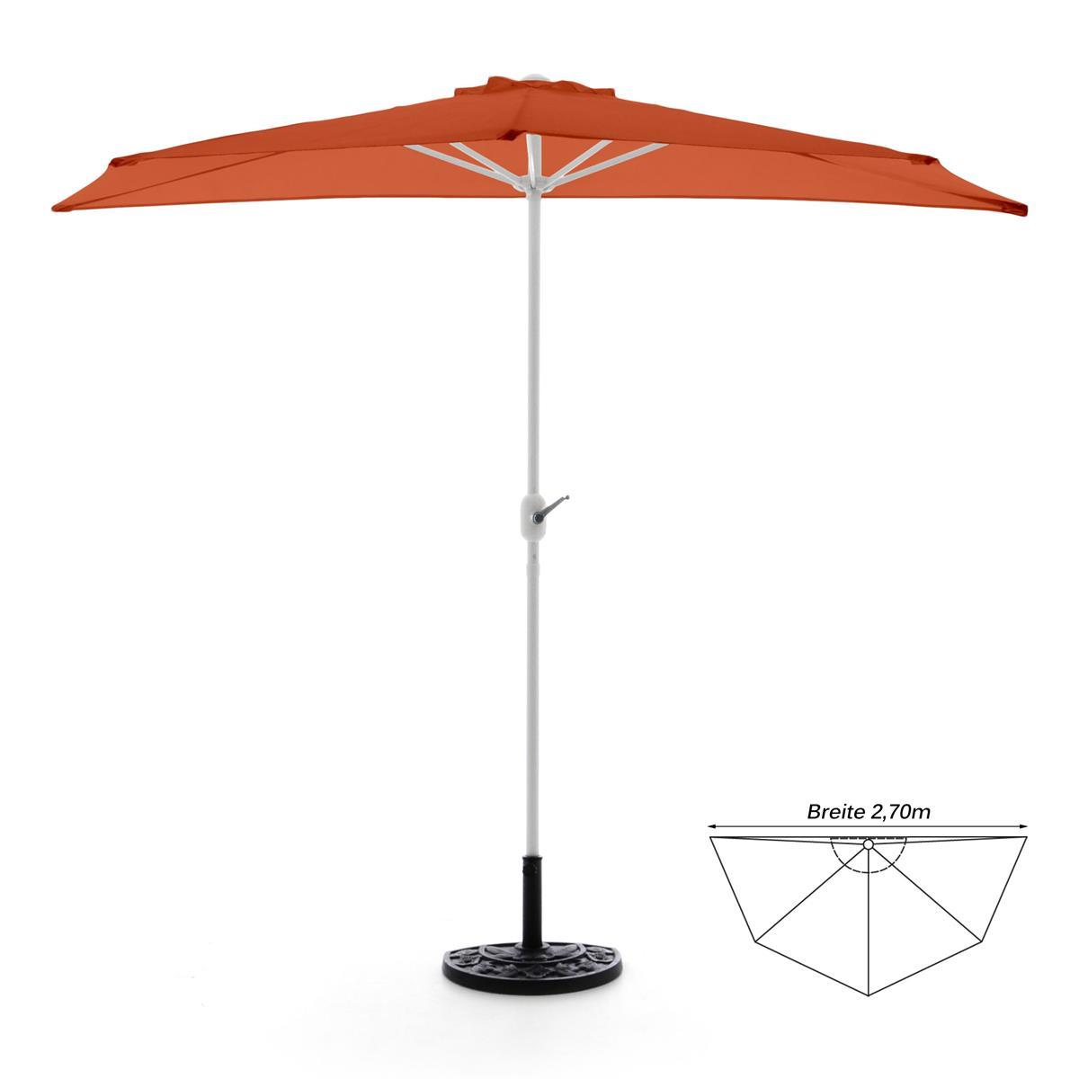 Komplett-Set Balkon Sonnenschirm orange halbrund Schirmständer Schirmschutzhülle
