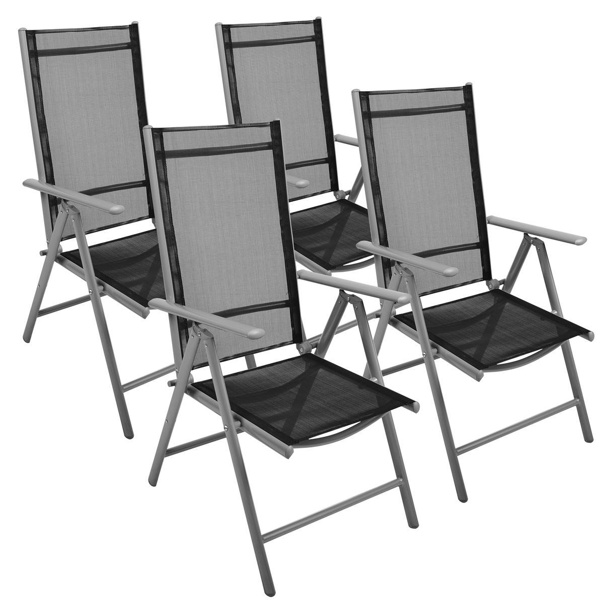 4er Set Klappstuhl schwarz Klappsessel Gartenstuhl Campingstuhl Liegestuhl