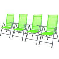 4er Set Klappstuhl grün Gartenstuhl Campingstuhl Liegestuhl Sitzmöbel Alu