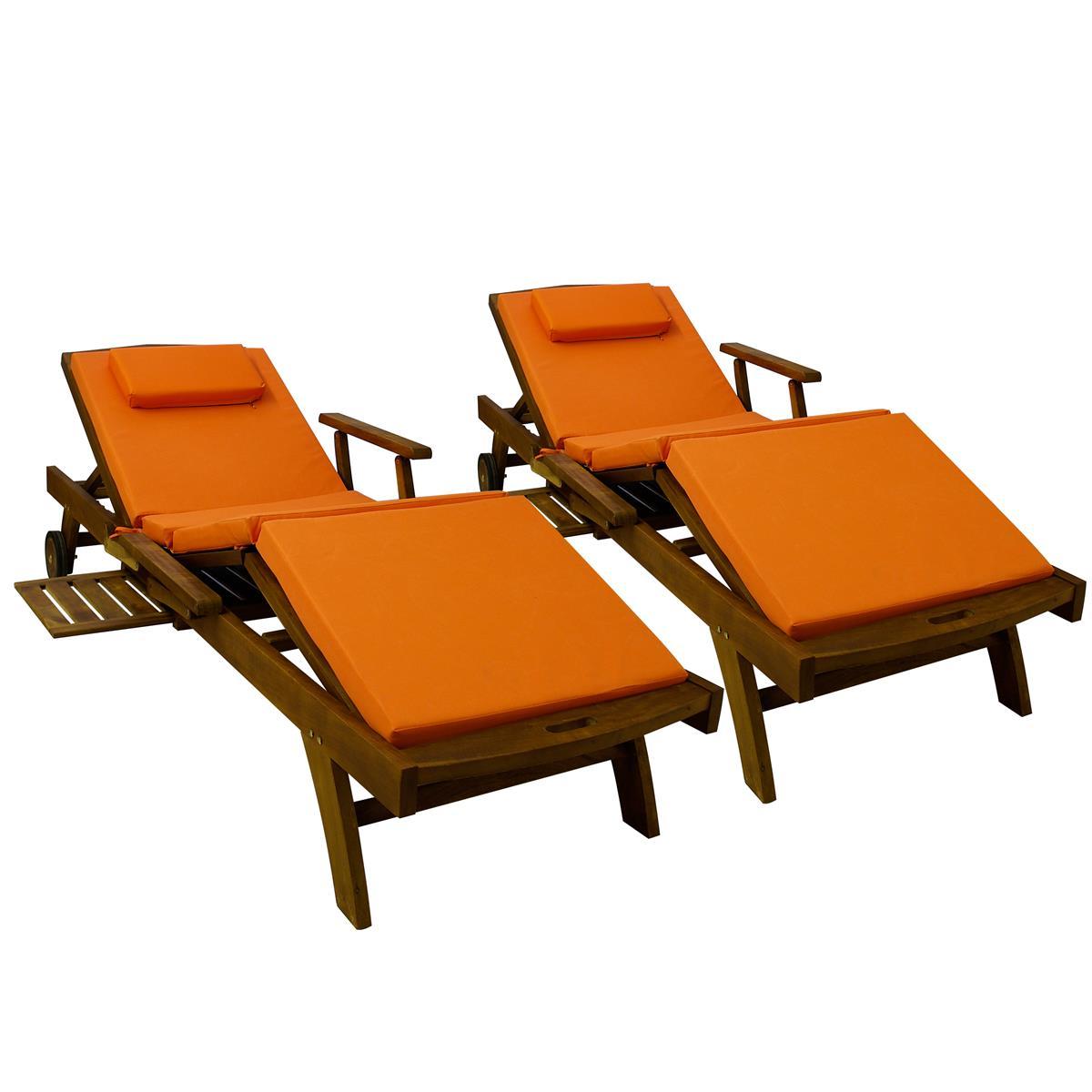 Divero 2x Liegenauflage Polster für Gartenliege mit Kopfkissen hochwertig orange