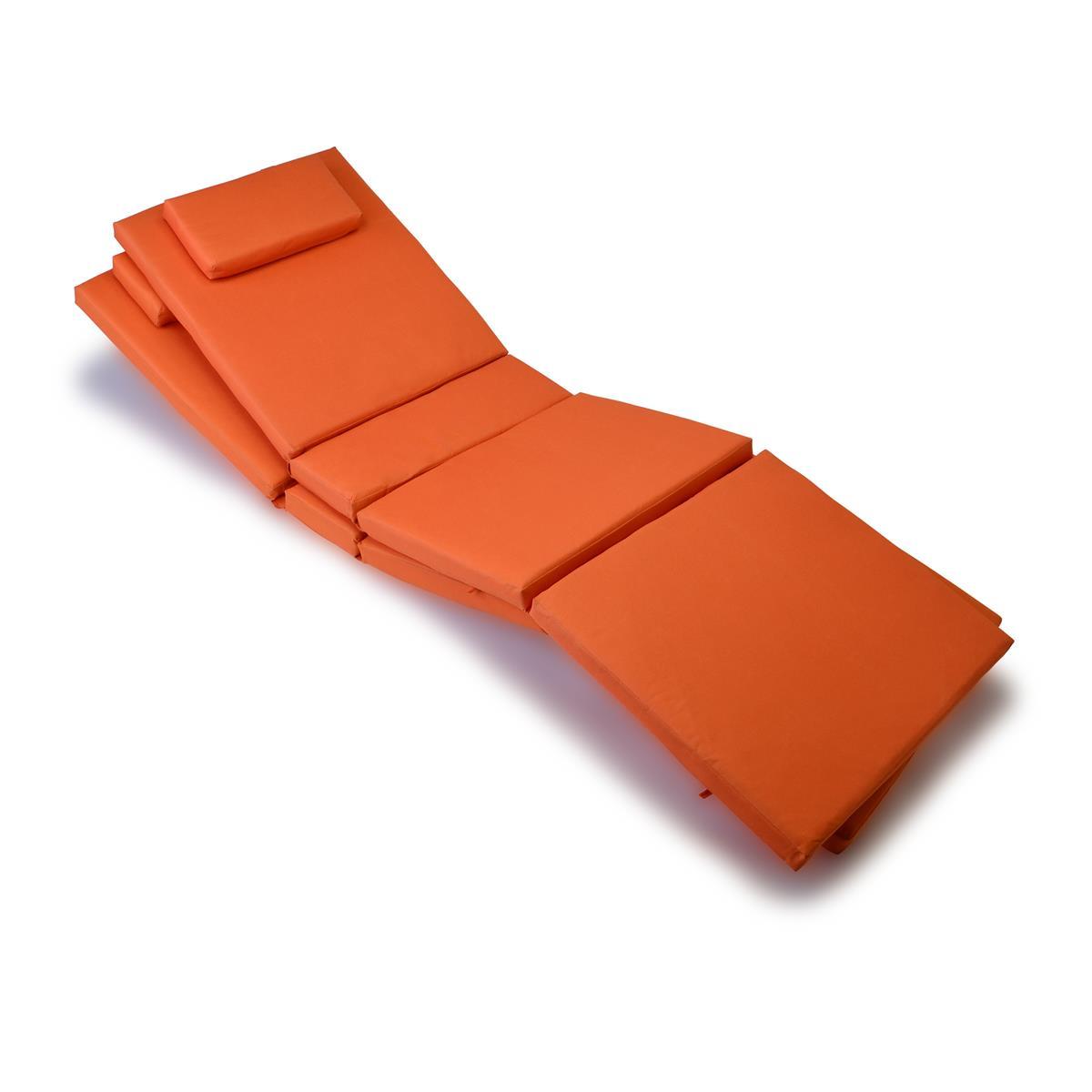DIVERO 2x Liegenauflage Polster für Gartenliege Kopfkissen hochwertig orange