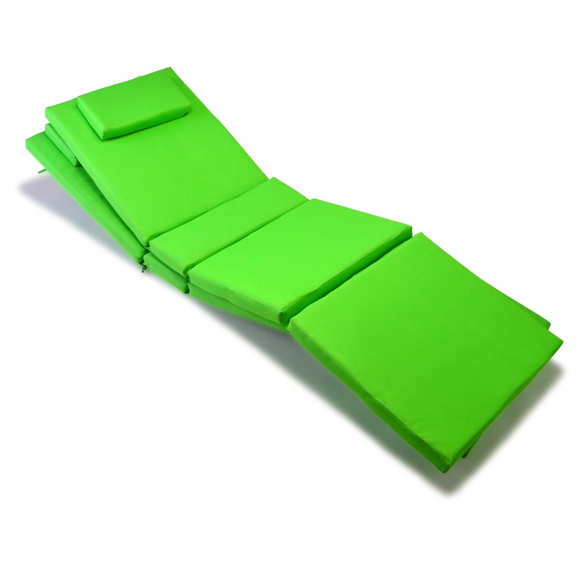 DIVERO 2x Liegenauflage Polster für Gartenliege mit Kopfkissen hellgrün