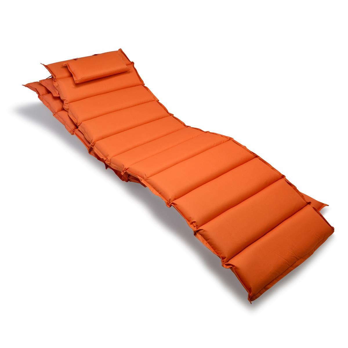 Divero 2x Liegenauflage Polster Kopfkissen Garten Terrasse gesteppt orange