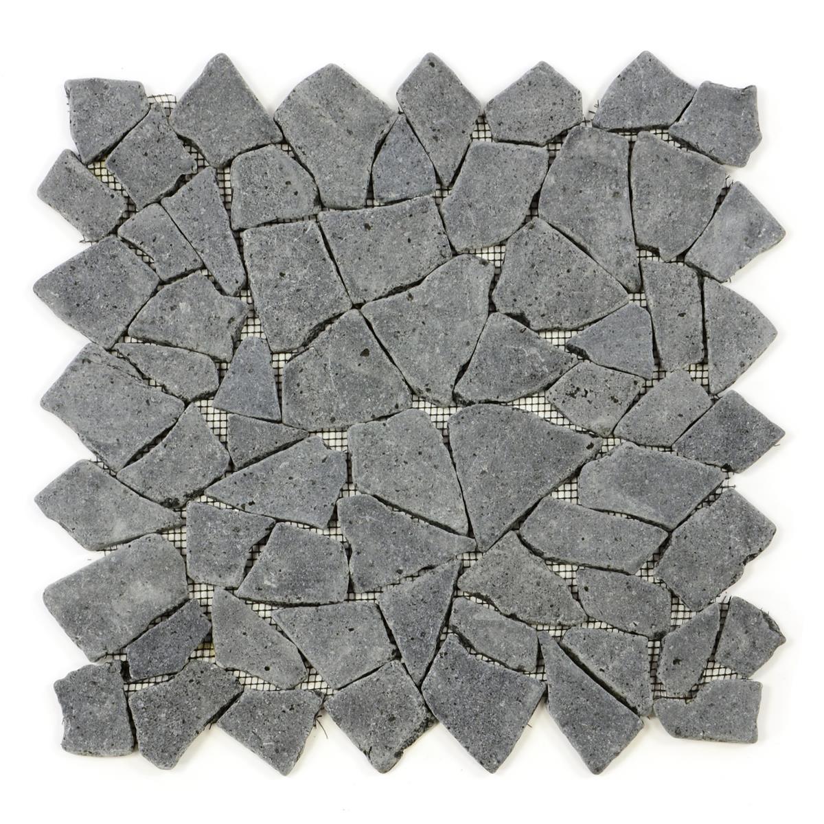 DIVERO 1 Fliesenmatte Mosaik Andesit für Wand und Boden grau á 35 x 35 cm