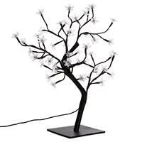 48 LED Baum mit Blüten weiß Lichterbaum Blütenbaum 45 cm Trafo Timer