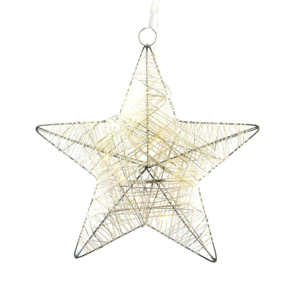 10 LED Stern Rattan-Optik warm weiß Weihnachtsstern Timer Batterie 25 cm