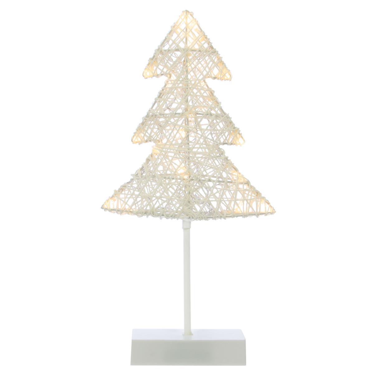 20 LED Dekoleuchte Baum in Rattanoptik warmweiß Weihnachtsdeko Standleuchte 40cm