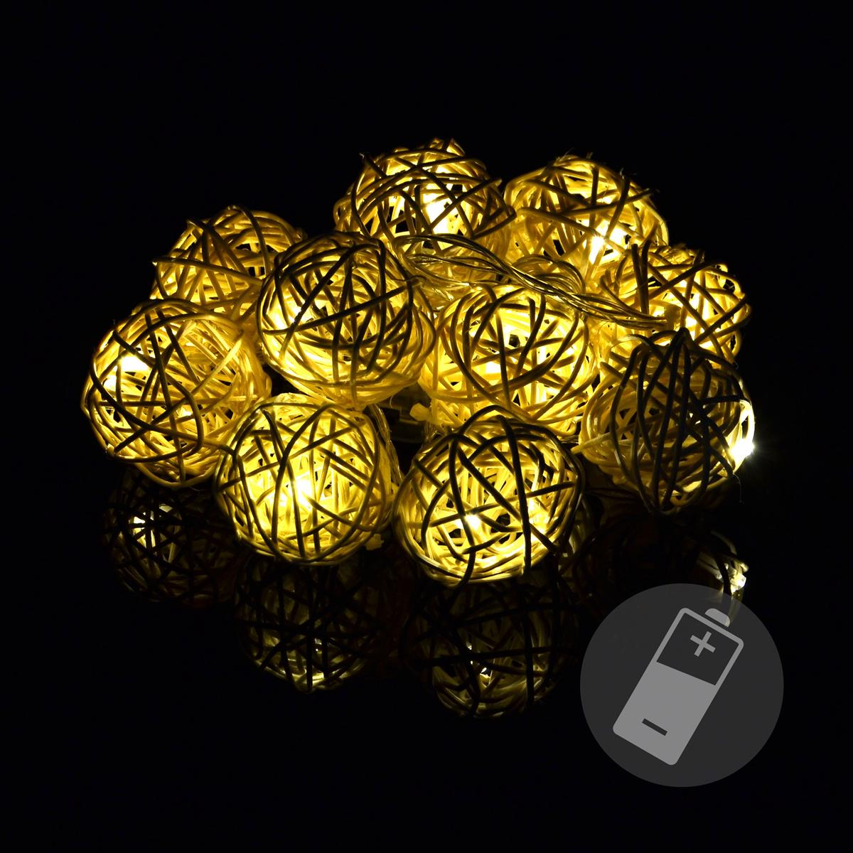 10 LED Kugel-Lichterkette Ball Rattanoptik Rattan Lichterkette warmweiß Batterie