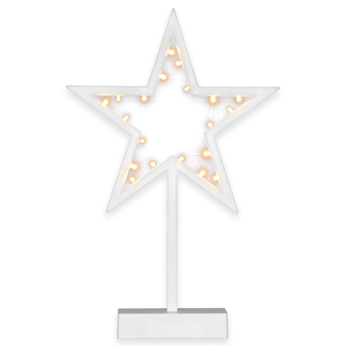 20 LED Dekoleuchte Stern warm weiß Weihnachtsstern Dekostern 38 cm Timer Batteri