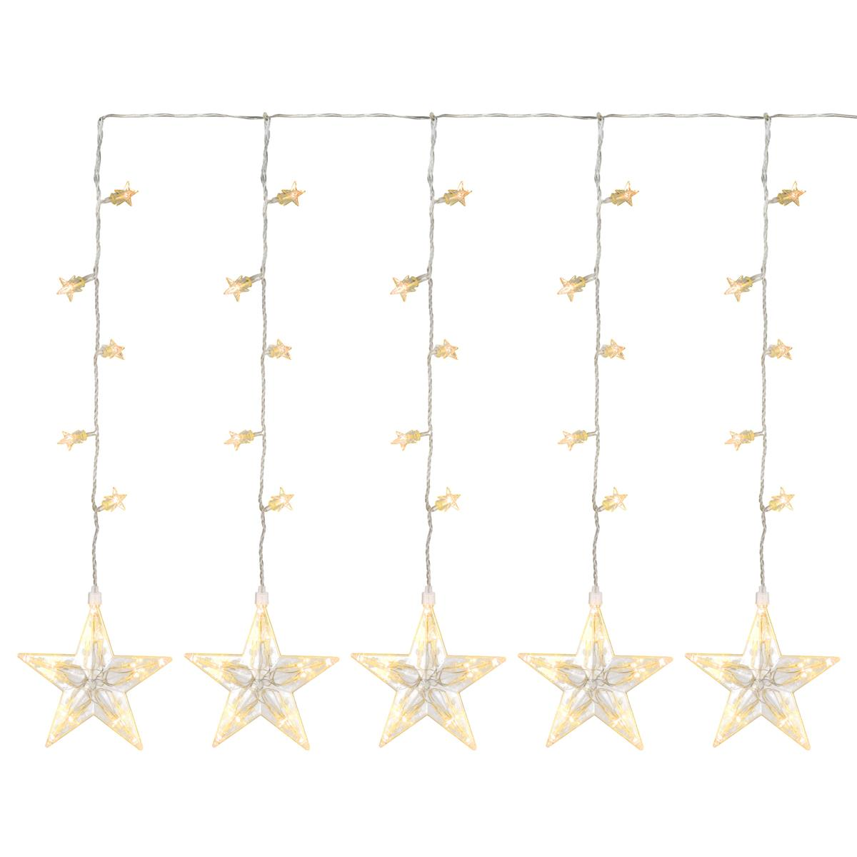 100 LED Sternenvorhang Lichterkette warm weiß Sterne Trafo Weihnachtsbeleuchtung