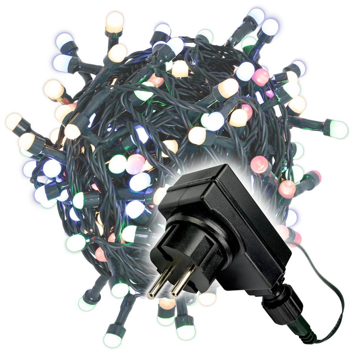 200er Maxi LED Lichterkette bunt außen Party Deko Trafo grünes Kabel 30m