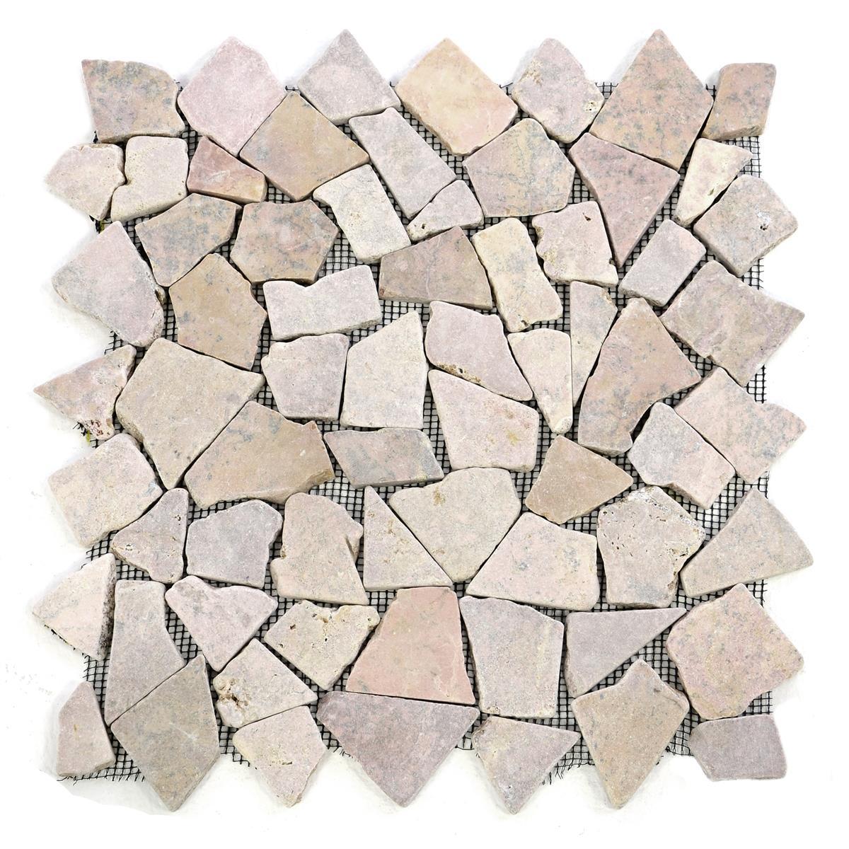 DIVERO 1 Fliesenmatte Naturstein Mosaik aus Marmor beige/rosa 35 x 35 cm