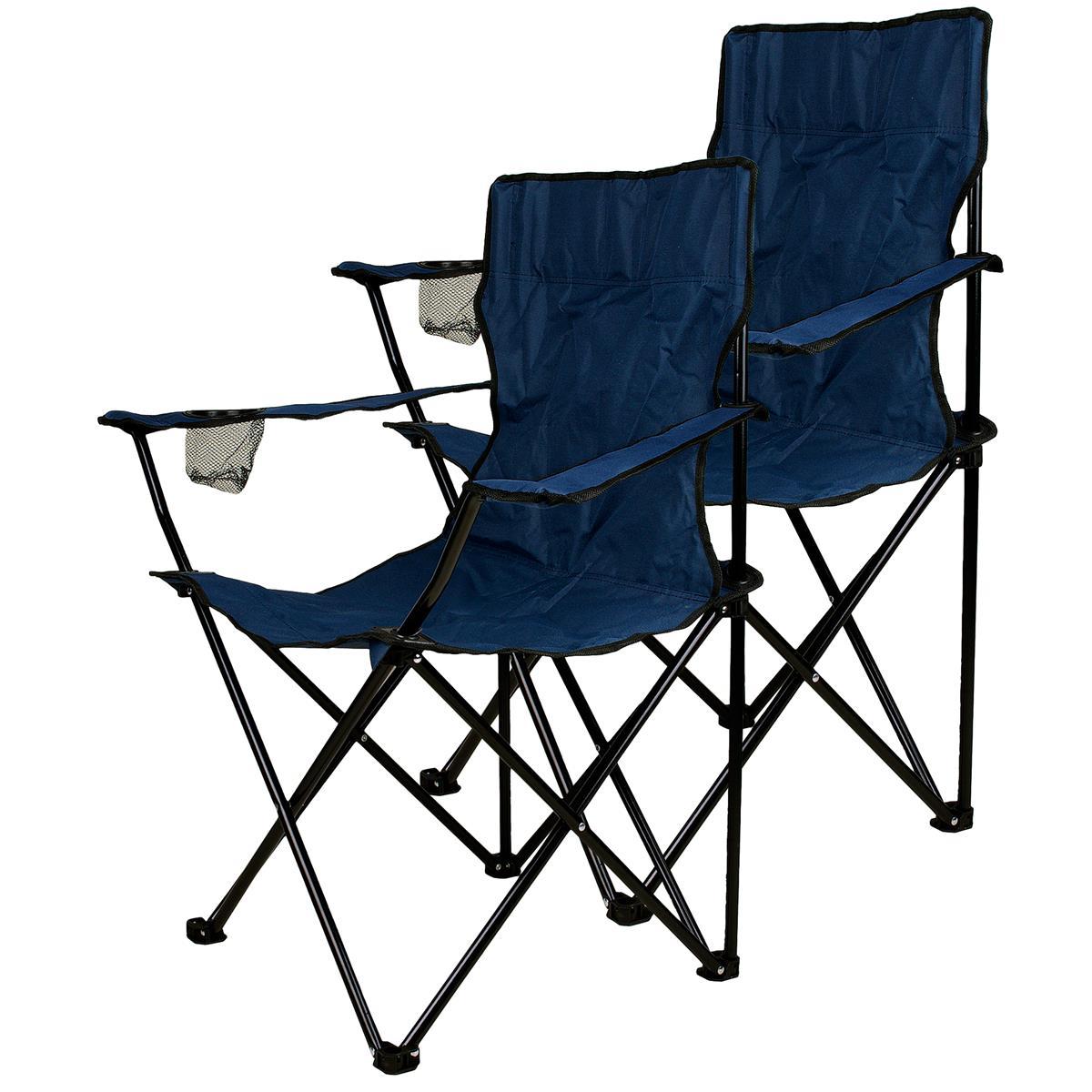2er Set Faltstuhl Campingstuhl mit Armlehne Getränkehalter blau