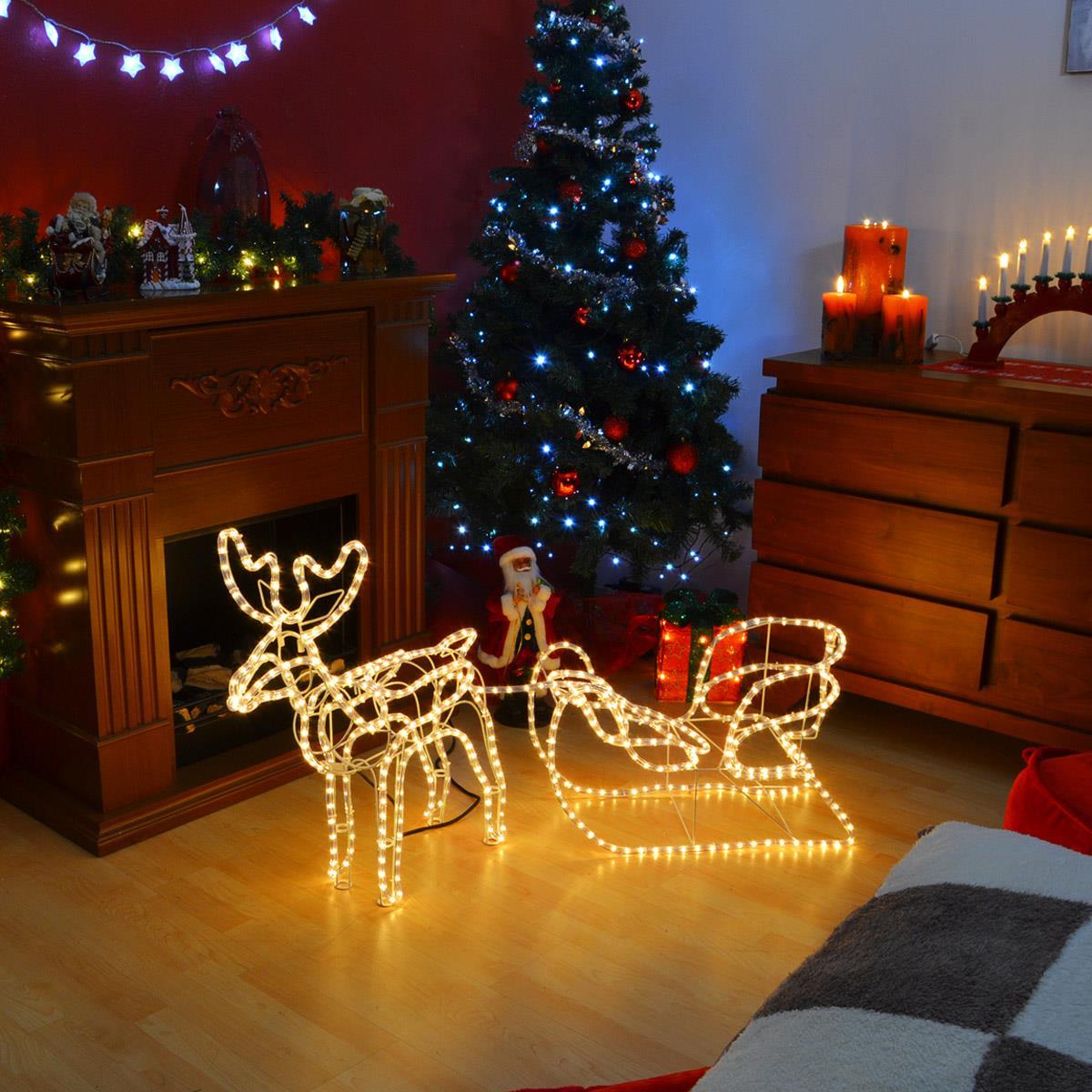 Weihnachtsdeko Xmas.Rentier Mit Schlitten Aus 14 M Lichterschlauch 336 Led