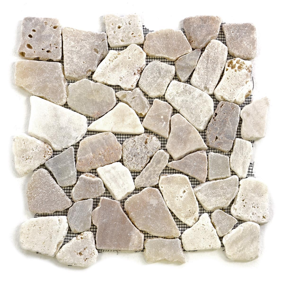 DIVERO 1 Fliesenmatte Naturstein Mosaik Flussstein creme 32 x 32 cm