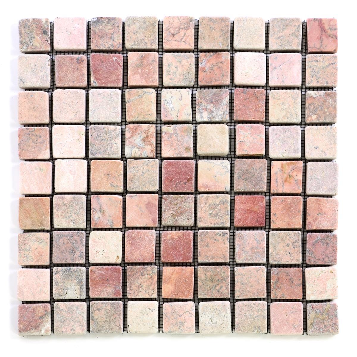 DIVERO 1 Fliesenmatte Naturstein Mosaik aus Marmor creme/rosa  29 x 29 cm