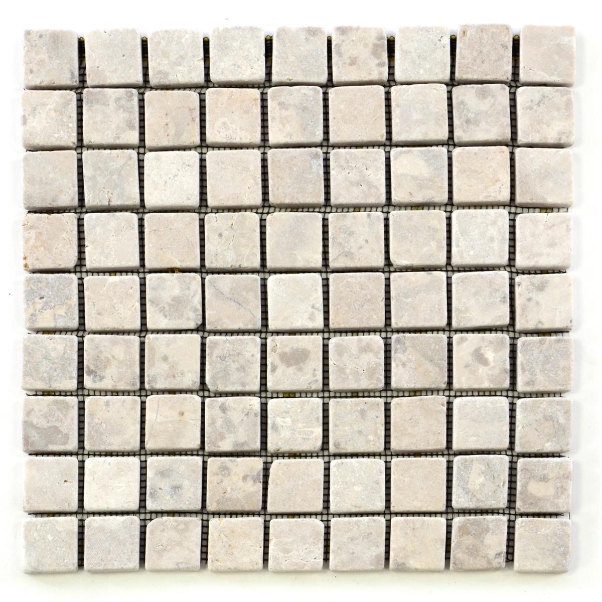 DIVERO 1 Fliesenmatte Naturstein Mosaik Marmor creme 29 x 29 cm