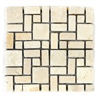 DIVERO 1 Fliesenmatte Marmor Mosaik römischer Verband cremeweiß 30x30cm