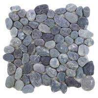 DIVERO 1 Fliesenmatte Flusskiesel Flussstein Mosaikfliese grau 32 x 32 cm