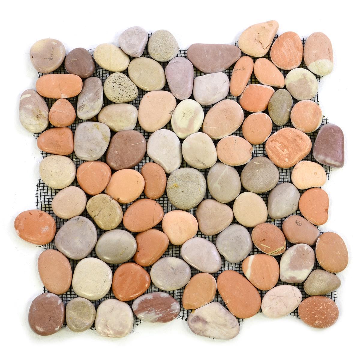 DIVERO 1 Fliesenmatte Naturstein Flussstein Mosaikfliese terrakotta 32 x 32 cm
